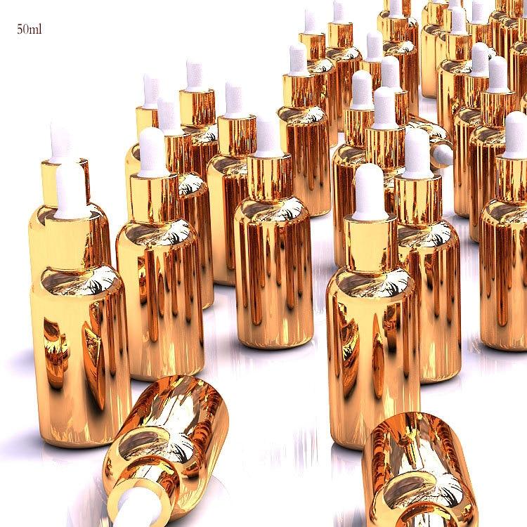 """10 шт. 50 мл Золотой стеклянный флакон с пипеткой Бутылочки для эфирного масла бутылка для лосьона пустая косметика """"сделай сам"""" флакон для духов"""