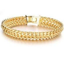 Fashion Gold Color Link Chain  Man Bracelets Luxury 20cm Long 11mm Width Men Wedding Party Gift For Boys Male Jewelry KS158