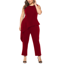 Plus Size Woman Jumpsuits Fashion Solid Sleeveless Clothing