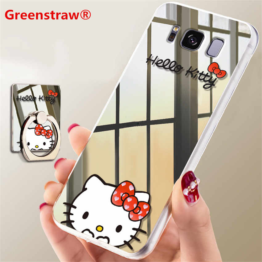 Note 8 note 9 For Samsung S9 Case Samsung note 8 9 Mirror Cartoon Hello Kitty Ring Holder Phone Case For Samsung S9 Plus S8 Case