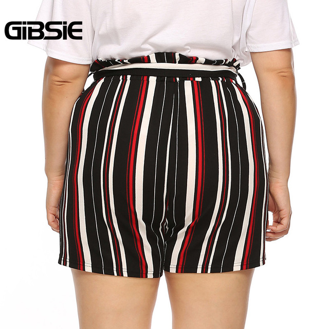 GIBSIE Plus Size New Fashion Bow Striped Shorts Women's Summer High Waist Shorts 2019 Female Casual Straight Shorts with Belt 1