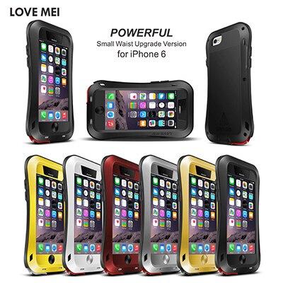 imágenes para Amor de la original mei vida a prueba de agua de metal case para iphone 4 4s 5 5s sí 6 6 s/6 6 s Plus Cubierta Cajas De Aluminio Con Vidrio Templado