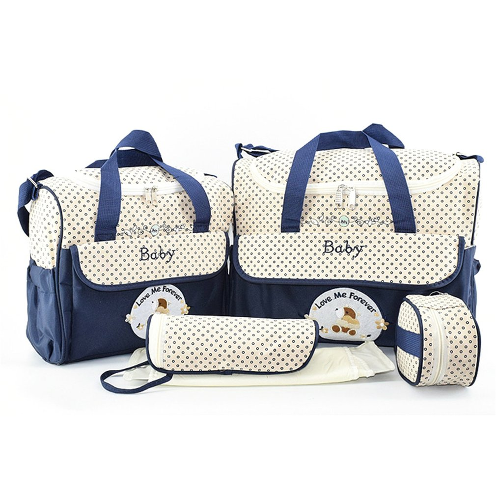 Cartoon 42*30*20CM Baby Diaper Bag Suits For Mom Baby Bottle Holder Mother Mummy Stroller Maternity Tote Bag 5pcs Nappy Bags Set mommore 5pcs set nappy bags includes diaper bag changing pad transparen mummy maternity bag waterproof baby stroller bag