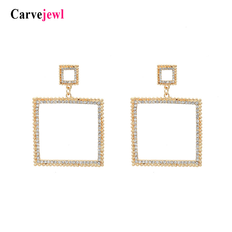Carvejewl duplo praça gota dangle brincos simulado de pérolas de cristal strass brincos de personalidade minimalista Americano jóias