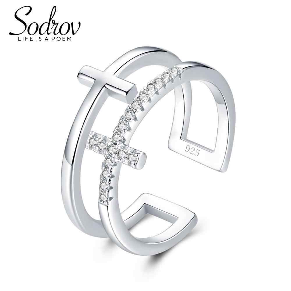SODROV JEWELS 925 Sterling Silver Rings Women Classic Round Full Pave AAA Cubic Zircon Engagement Wedding Band Ring for Girls