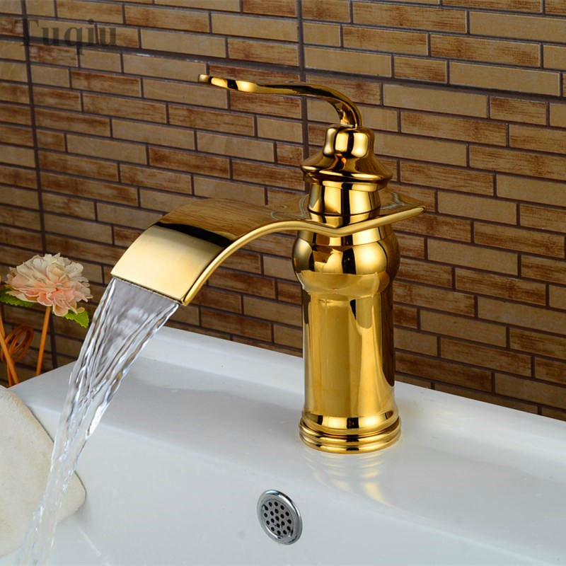 Free Shipping bathroom sink faucet single handle single hole bathroom basin faucet cold and hot waterfall