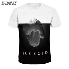 4b67586d24e3 E-BAIHUI 2018 New fashion 3D iceberg Print T-shirt Men Short Sleeve t
