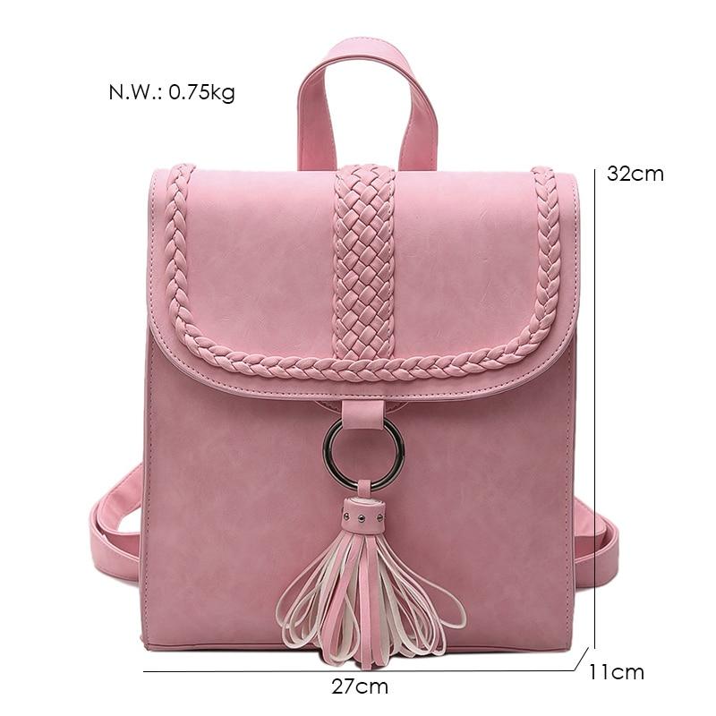 2017 Preppy Style Women Backpack Teenage Girls Pu Leather Backpack Female SchoolBag Machila Femanina Tassel Backpacks Travel Bag (34)