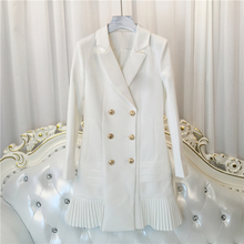 High QUALITY New Fashion 2020 Runway Designer Dress Womens Long Sleeve Notched Collar Double Breasted Lion Buttons Dress