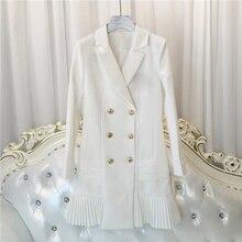 Vestido de manga larga con botones de León para mujer, vestido de diseñador de pasarela, cuello entallado, doble botonadura, 2020