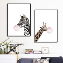 Nordic Decorative Painting Creative Animal Children Room Wall Art Blowing Bubbles Giraffe Zebra Canvas Posters and Prints