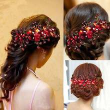 Новый дизайн китайский красный цветок с кристаллами Свадебный