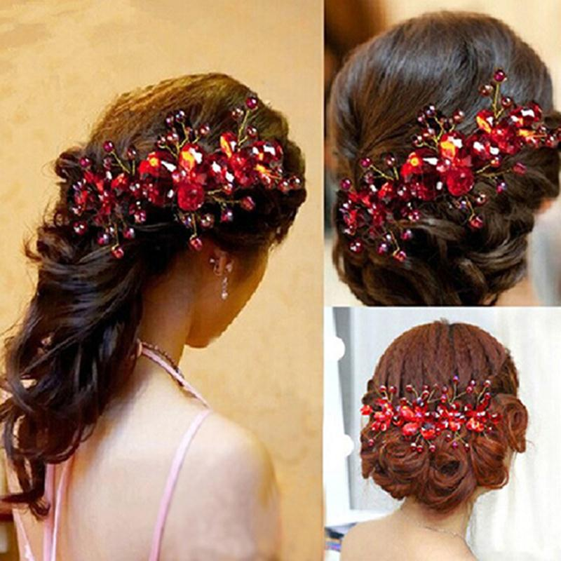 New Design Chinese Red Crystal Flower Wedding Bridal Hair Clip