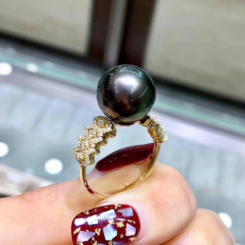 FENASY marque 14 K bague en or jaune ronde naturelle véritable perle de tahiti anneaux classique femmes or luxe mariage bague de fiançailles