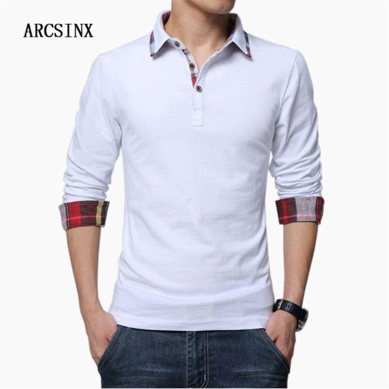ARCSINX Polo Shirt Men Plus Size 5XL 4XL 3XL  XXL Spring Long Sleeve Polo Men Polo Shirt Autumn Cotton Winter Casual Men's Polos