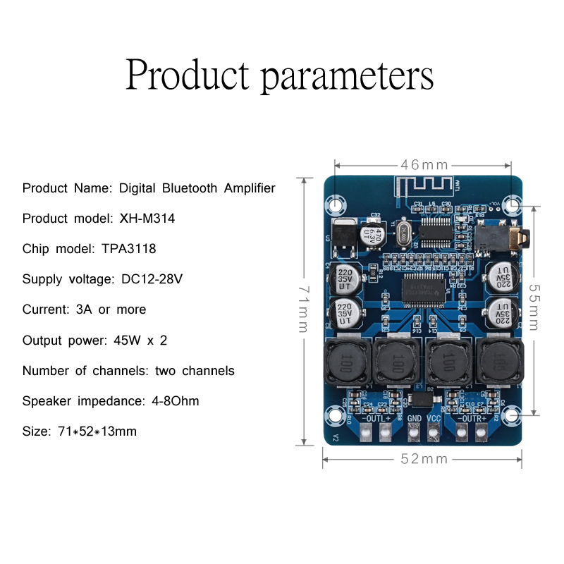 Image 5 - TPA3118 Bluetooth Digital Amplifier Board 45W*2 2.0 channel Stereo Audio Amplification Module AUX Decoder Home Audio-in Amplifier from Consumer Electronics