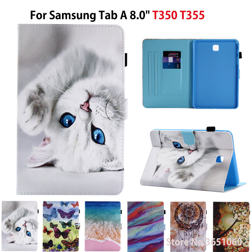 SM-T355 Case For Samsung Galaxy Tab A 8.0 SM-T350 T355 P350 Smart Cover Funda Fashion Cartoon Cat Tablet PU Leather Stand Shell