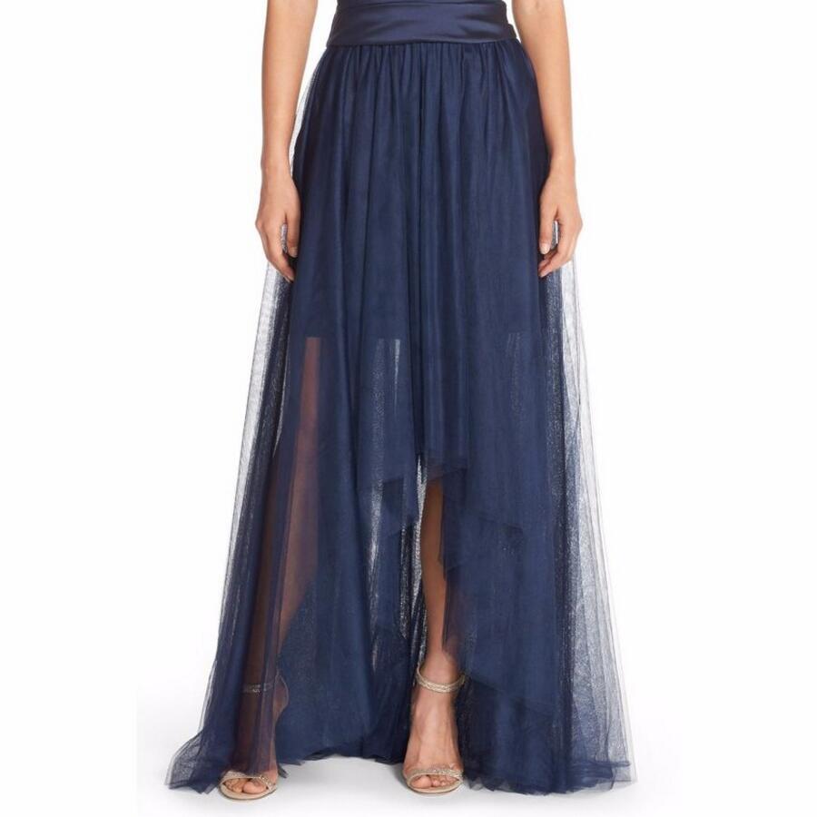 cd1c48fcf أنيقة الأزرق الداكن لينة تول أعلى أدنى التنورة للنساء شير مثير الطابق طول  توتو تنورة انكلترا نمط الخصر تنورة