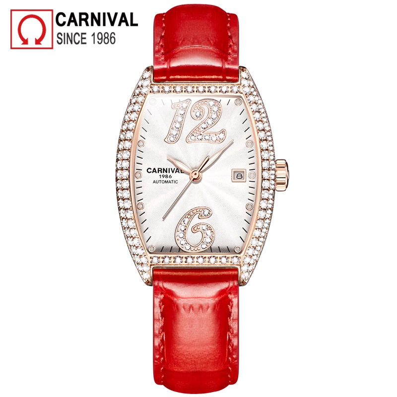 Carnival Luxury Automatic Watch Women Mechanical Watches Diamond Waterproof Ladies Leather Strap Wristwatch Clock montre femmeCarnival Luxury Automatic Watch Women Mechanical Watches Diamond Waterproof Ladies Leather Strap Wristwatch Clock montre femme