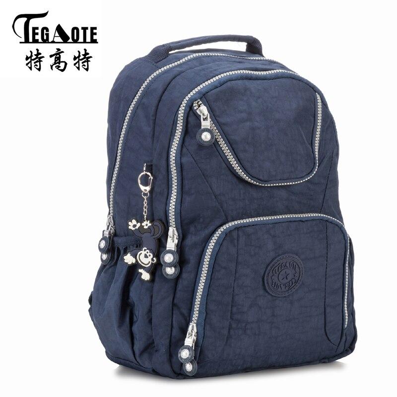все цены на TEGAOTE 2017 Black Backpack Unisex Hombre Mochila Masculina Bookbag Nylon Waterproof Male Bagpack Female Portatil Bag Sac A Dos онлайн