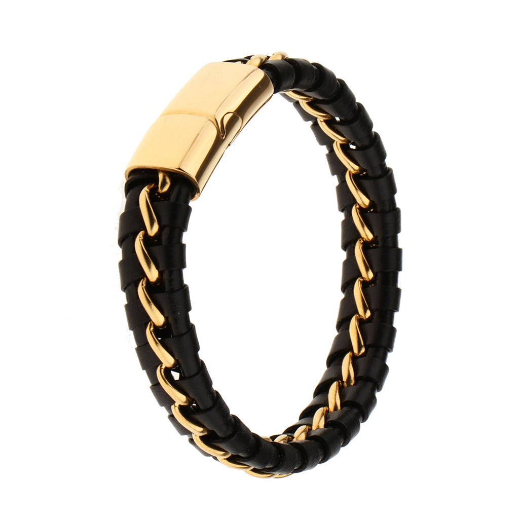 Genuine Leather Braided Bracelet For Mens Black Color Stainless Steel Gold Wire Bangle Mens Friends Jewelry Gift