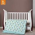 Baby crib bedding set 100% algodão bonito dos desenhos animados imprimir capa de edredão colcha com enchimento 4 pcs fcbk001