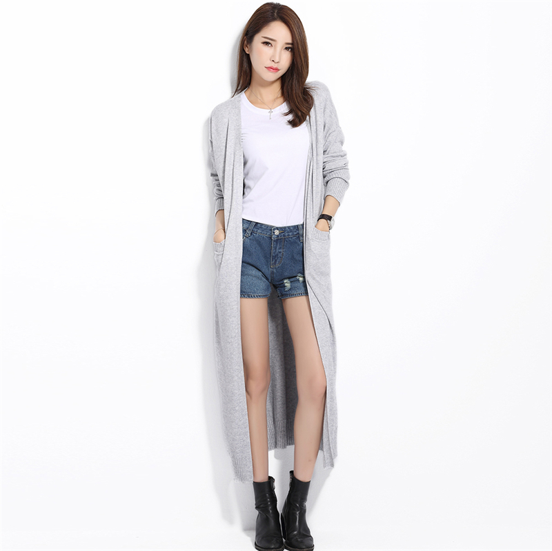Long Cardigan Solid Cashmere V Neck Open Cardigan Mujer Women ...