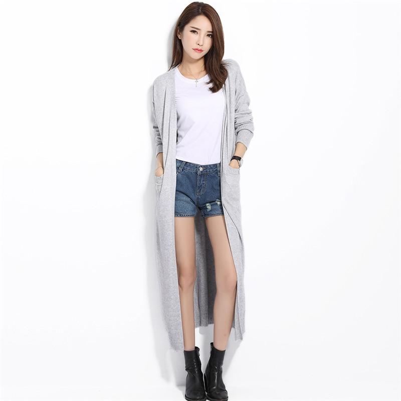 Aliexpress.com : Buy Long Cardigan Solid Cashmere V Neck Open ...