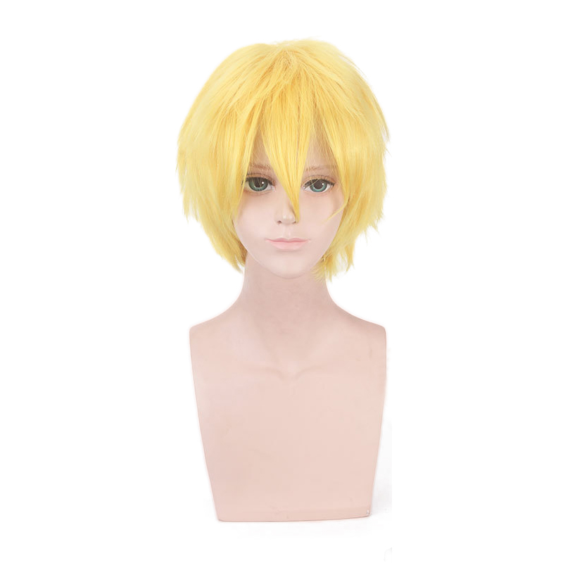 Anime Hataraku Saibou Killer T Saibou Short Yellow Wig Cosplay Costume Cells at Work Men Synthetic Hair Halloween Party Wigs