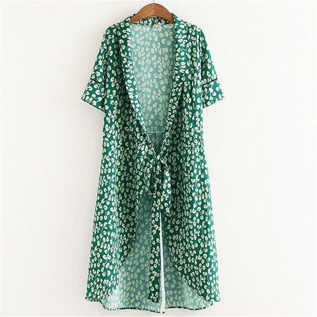 vasta selezione di f9449 a139b US $18.97 |Fiore verde kimono wrap dress con i telai delle donne vestito  kimono cardigan floreale veste donne vestiti lunghi vestidos femininos in  ...