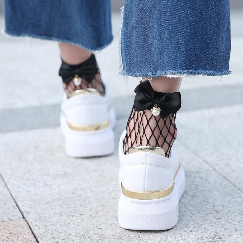 New Hot 2019 Fashion Summer Women Ruffle Large Fishnet Ankle High Socks Bow Tie Mesh Lace Fish Net Short Socks W5.9