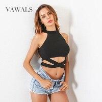 2017 Free Shipping Vawals Selling Female Explosion Halter Strapless Vest Navel Cross Belt New Summer Black