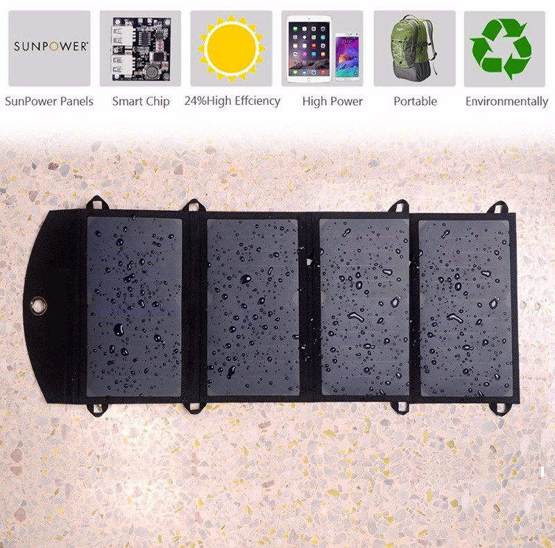 Water resistant solar panel charger