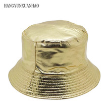 Hip Hop Casual Golden And Silver Double-sided Bucket Hat Unisex Rock Panama Fishing For Men 2018 Cotton Fisherman Visor