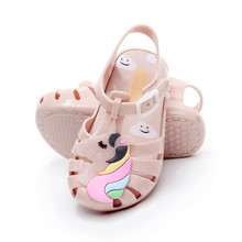 2019 Melissa Summer Cute Mini Unicorn Jelly Sandals Boys and Girls Shoes Baby Kids Beach Anti-skid Soft Insole PVC