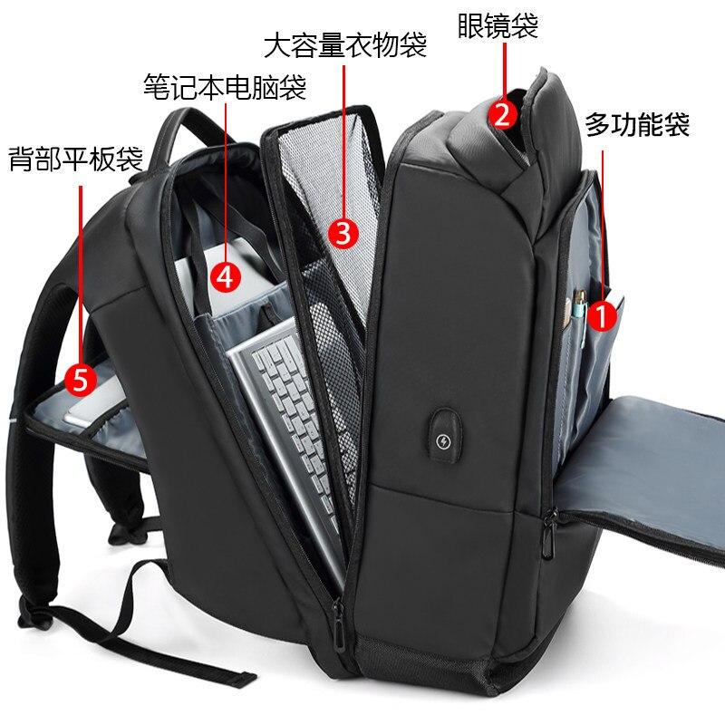 2020 многофункциональные водонепроницаемые 15,6 дюймовые рюкзаки для ноутбука, мужские рюкзаки с usb зарядкой большой емкости, модные мужские р... - 5
