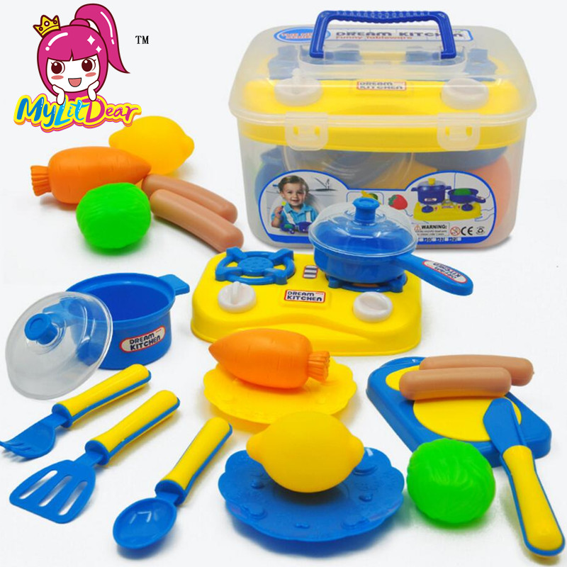 MylitDear New Kitchen Cooking Toy Children DIY Beauty Plastic Kitchen Toy Role Play Toy Set Kids Educational Toys In Plastic Box
