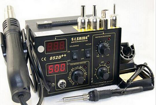 Saike 852D++ Standard Rework Station Soldering iron Hot Air Rework Station Hot Air Gun soldering station 220V or 110V  цены