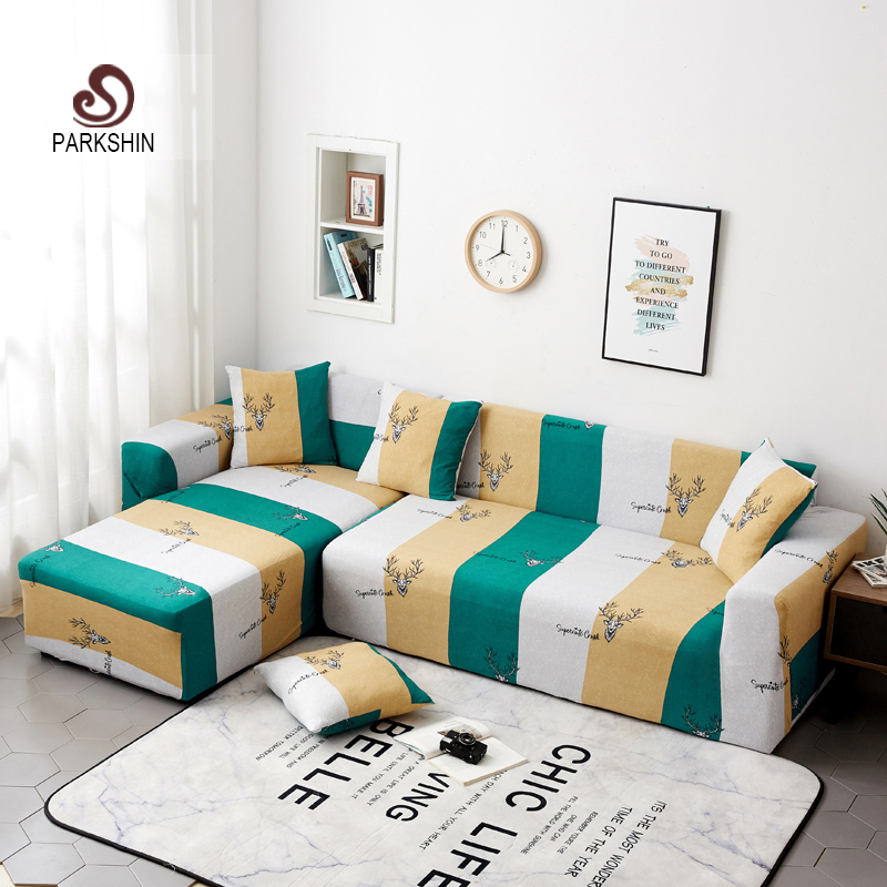 Parkshin Deer Slipcover Non slip Elastic Sofa Covers Polyester Four Season All inclusive Stretch Sofa Cushion 1/2/3/4 seater-in Sofa Cover from Home & Garden