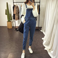Free Shipping 2016 Womens Jumpsuit Denim Overalls High Waist Casual Vintage Loose Pants Pockets Women Boyfriend Jeans Plus Size