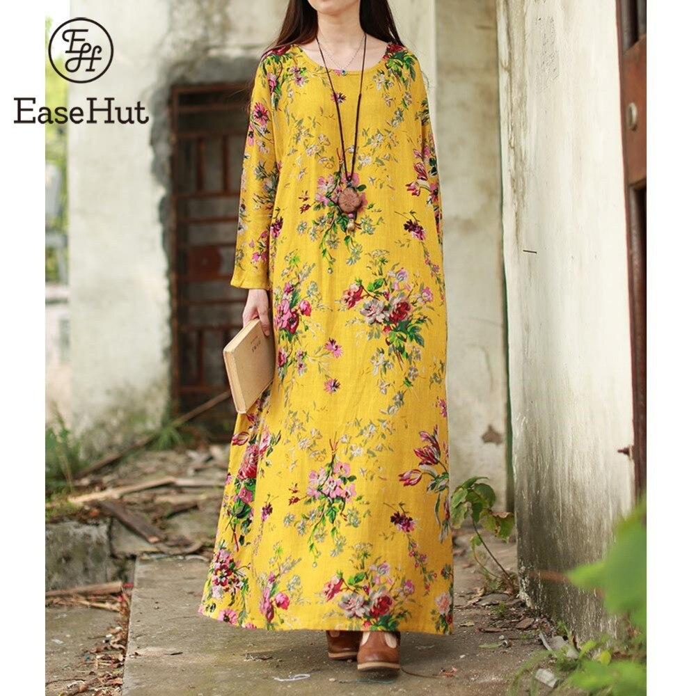 EaseHut 2019 Neue Vintage Frauen Floral Maxi Kleid Plus Größe Lange Ärmel Taschen O Hals Baumwolle Leinen Lose Robe Kleider vestidos