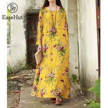 EaseHut 2019 nuevo Vintage mujeres Maxi vestido Floral más el tamaño de las mangas largas bolsillos cuello redondo algodón Lino vestido suelto vestidos