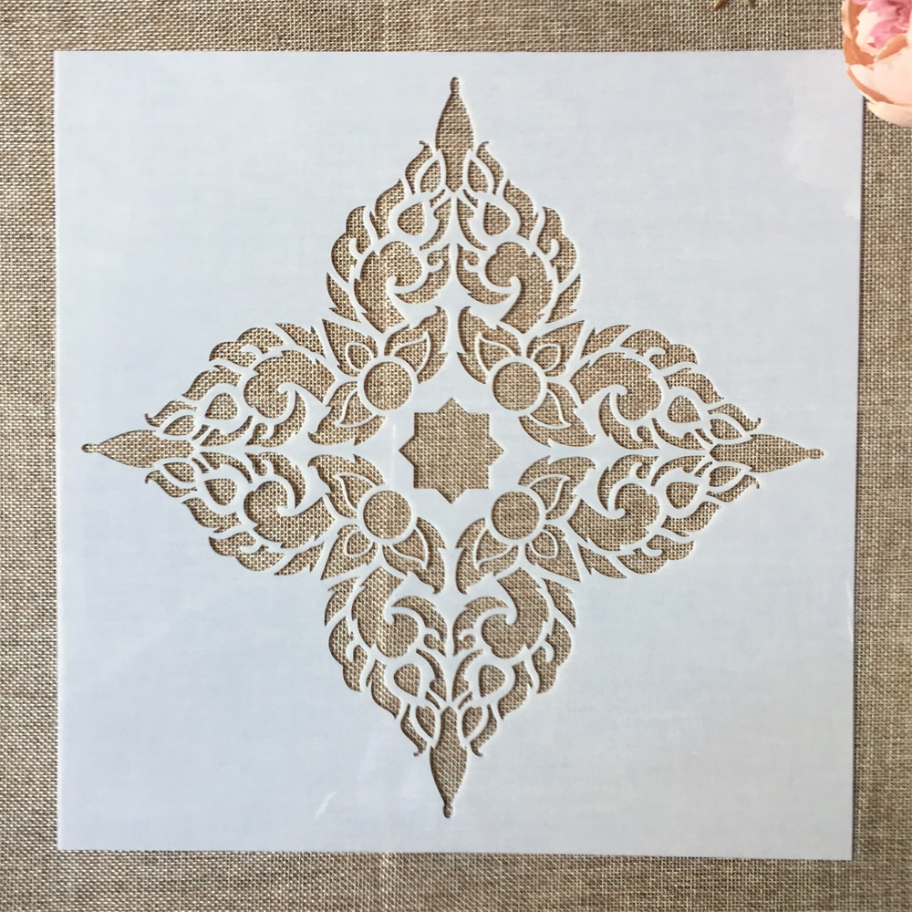1Pcs 12*12inch Big Flower Mandala Clover DIY Layering Stencils Painting Scrapbook Coloring Embossing Album Decorative Template