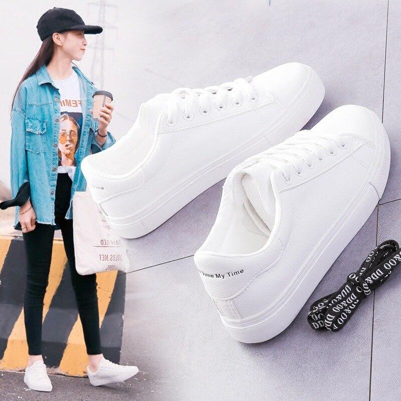 Women Sneakers 2019 Fashion Breathble Vulcanized Shoes Women Pu Leather Platform Shoes Women Lace Up Casual Shoes White