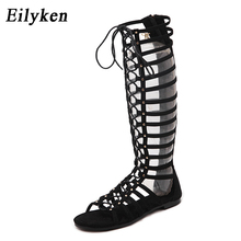 Eilyke High Quality Leather Women Sandals Strappy Open toe Knee High Summer Gladiator Flat Sandals Roman Bandage Casual Boots
