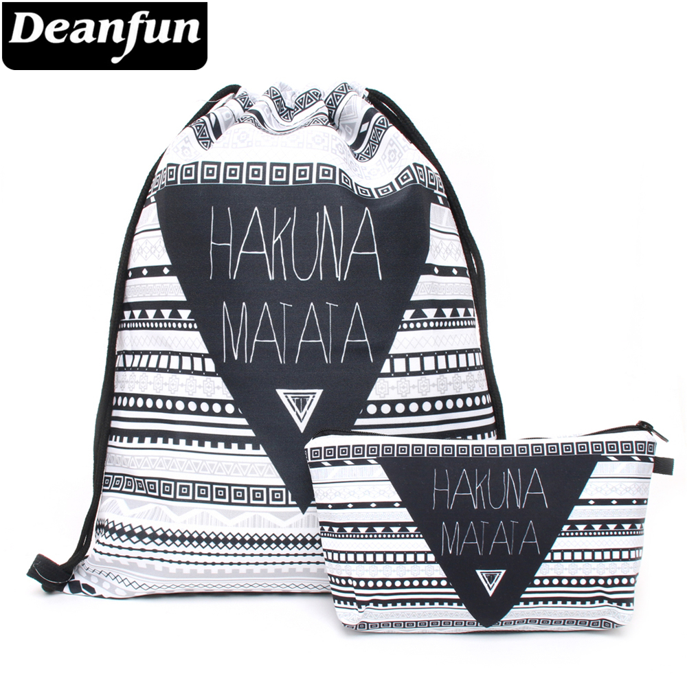 Deanfun Small Drawstring Bag 2 PCS Set Printing Hakuna Matata Pattern For Women Fashion School 010