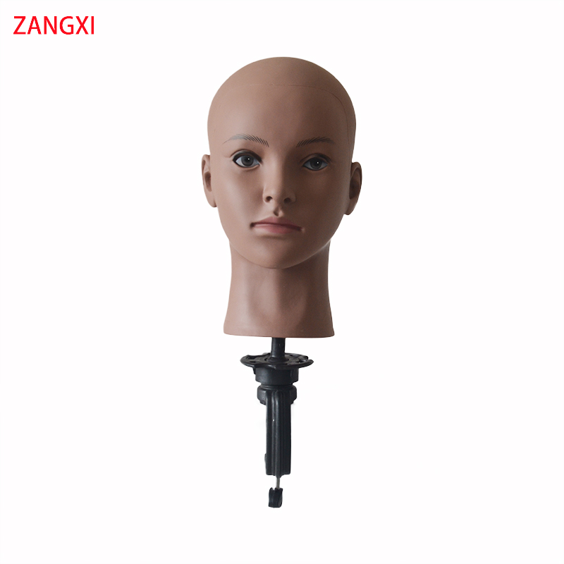Afro Bald Mannequin Head For Wig Making Hair Extensions <font><b>Hat</b></font> Display Cosmetology Training Head With Free Holder Wig <font><b>Block</b></font> Head image