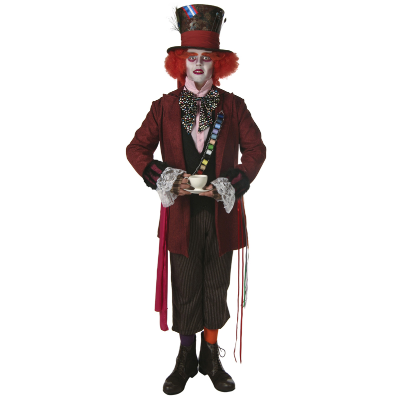 Adult Men's Superme Authentic Mad Hatter Alice In Wonderland Halloween Movie Cosplay Costume