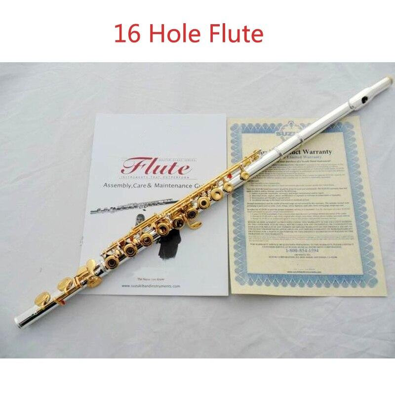 271 S Livraison gratuite Étudiant flûte type petit coude le 16 clé trou ouvertures C Flûte Argent corps or touches instrument flauta