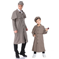 Halloween Costume Adult Children Sherlock Holmes Plaid coat with cap Cosplay costume carnival party top quality costumes